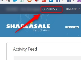 Location of your affiliate ID on ShareASale website