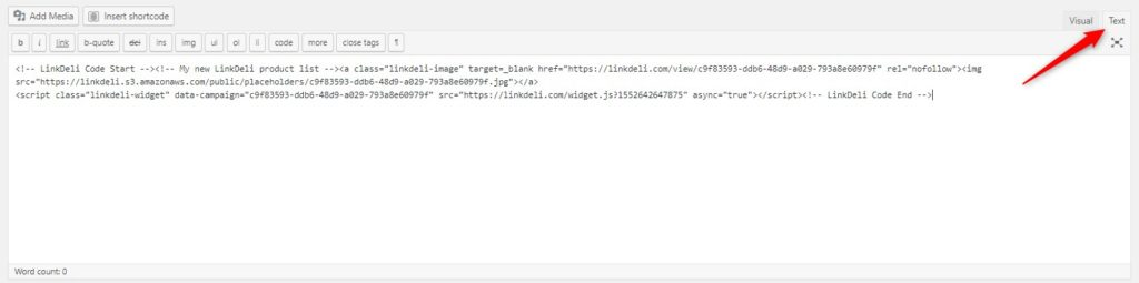 Paste it on the html blog mode